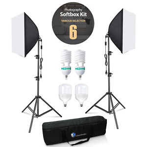 "Photography Studio Lighting 20"" Softbox LED/CFL Kit - Photo Stand, Carrying Bag"