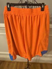 REEBOK Mens Orange W/ Blue Side Stripe Athletic Basketball Shorts - Size Large