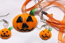 Halloween Glass Lampwork  Glass  Pumpkin Earring Necklace Holiday Jewelry Set