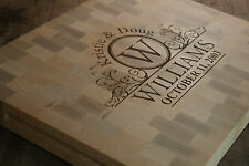 Engraved Maple End Grain Cutting Board Personalize Made In USA