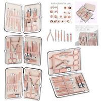 18PCS Manicure Pedicure Set Finger Toe Nail Clippers Scissors Grooming Kit Tool