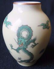 "New listing Fukagawa Mini / Small Japanese Porcelain Yellow Vase w/ Green Dragons in box 3""H"