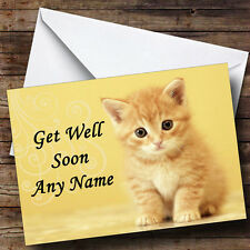 Ginger Kitten Personalised Get Well Soon Greetings Card
