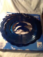 New listing Iron Stop Metal Wind Spinner Blue Nautical Dolphins Small Usa Yard garden Art