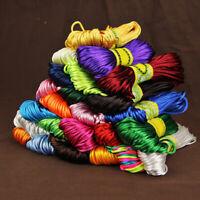 20M 2mm Rattail Satin Silk Cord Nylon Macrame Beading kumihimo String Trendy
