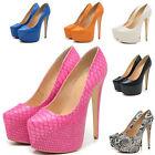 New Fashion Ladies Party Platform Pumps Killer High Heels Shoes Sanka Skin UK2-9