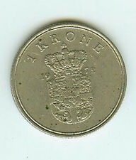 Münze International Dänemark 1 Krone 1972