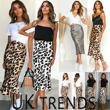 UK Womens Midi Skirt Leopard Print Ladies High Waist Cocktail Club Dress Party
