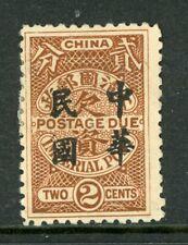 China 1912 Republic Postage Due 2¢ Brown London Overprint Scott #J37 Mint O719