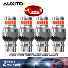 4PC AUXITO 7443 7440 Brake Tail Stop Light Red Flash Strobe Blinking LED Bulbs