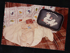 Vintage Photograph Adorable Baby Laying on Couch By Going To Grandma's Suitcase