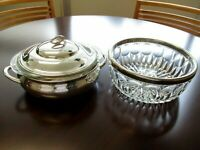 Vintage Silverplate and Cut Glass Serving Bowls Set Of 2