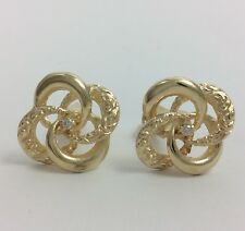 14K YELLOW GOLD KNOT DIAMOND CUFFLINKS