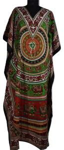 Long Elephant Print Kaftan Dress, Boho Maxi, Free Size Caftan, Night Gown, Green