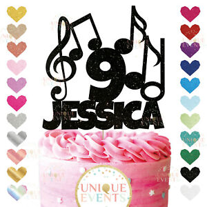 Custom Music Note Clef Topper Glitter Topper Treble Clef Bass Music DJ Party Age