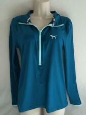 Victoria's Secret PINK Ultimate Deep Half Zip Pullover Jacket Teal Green Blue M