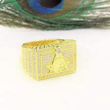 Sterling Silver Gold Plated Masonic Ring W/ Cubic Zirconias Size 11 Extra Large