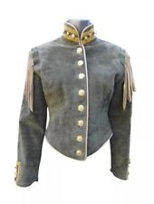 Double D Ranch Ranchwear Suede Leather Tassels Metal Buttons Beaded Jacket M