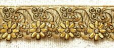 GOLD EMBROIDERED ORGANZA TRIM - SOLD PER METRE - 6.3CM'S WIDE