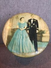 Vtg Huntley & Palmers Biscuit Tin Queen Elizabeth Prince Phillip Crown Princess