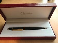 "EUC Authentic Cartier ""Diablo"" RollerBall Pen Black Composite Gold Trim w/ Box"