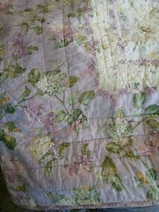 RARE Rachel Ashwell Treasures Lavender/Cream Lilac Quilt QUEEN Embroidered