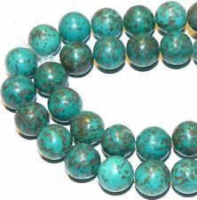 "GR686 Blue-Green Turquoise 12mm Round Magnesite Gemstone Beads 15"""