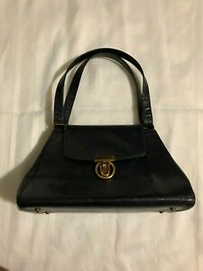 Vtg CROUCH & FITZGERALD NY Blue Lizard Embossed Leather Turn Lock Satchel Bag