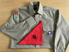 More details for vintage scout shirt with leicester badges, red scarf and woggle