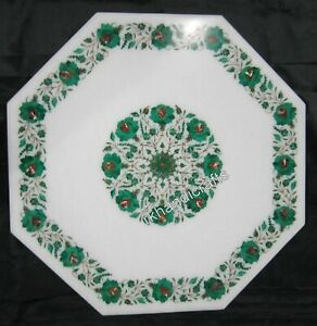 24 Inches White Marble Coffee Table Top Inlay Center table with Malachite Stone