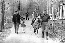 1963-Camp David-President Kennedy-John F. Kennedy, Jr-Caroline Kennedy Horseback