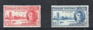 SOMALILAND PROTECTORATE STAMPS 1946 VICTORY 1a & 3 ANNAS.MINT NEVER HINGED