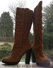 WAREHOUSE TAN SUEDE KNEE HIGH BOOTS 8/41 RRP £100 NEW/UNWORN **REDUCED**