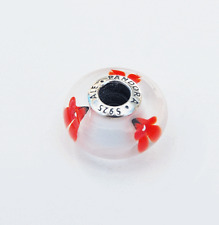 """Gen Pandora Red and White Wildflower Murano Glass Charm """"Poppy Flowers"""" - 791636"""
