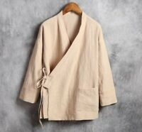 Herrenmode Hemden Jacke Chinesischer Vintage Stil Baumwolle Leinen Freizeit Neu