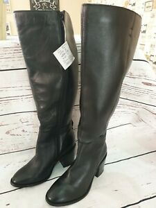 JD Williams Ladies Black Leather Knee Boots Size 4 New