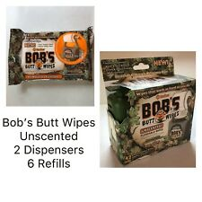Bob's Butt Wipes Set 2 Hanging Dispensers 6x 42ct Flushable Men Hunt Camp Cabin