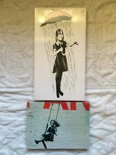COLLECTION OF 2 LARGE FRAMED BANKSY CANVAS PRINTS WALL STREET ART GRAFFITI 45CM