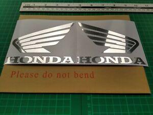 Honda Wings Polished Chrome Stickers Set of 2 Self Adhesive. Motorcycle Quad etc