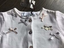 New Tartine Et Chocolat Girl Baby Infant White Cardigan Sweater Top Size 1A
