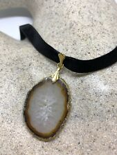Vintage Genuine Quartz Stone Slice Antique Pendant Choker