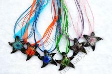 FREE Wholesale Lot 12pcs Starfish Lampwork Glass Pendants Silk Necklace Jewelry