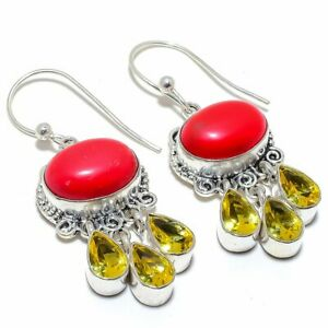 """Red Coral & Citrine 925 Sterling Silver Jewelry Earring Jewelry 2.1"""" S264"""