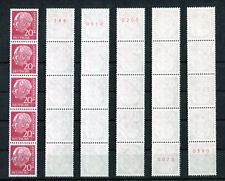 1 x Bund 185 y R postfrisch 5er Streifen Heuss Lumogen mit roter Zählnummer MNH