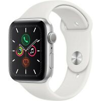 Apple Watch Series 5 44mm Aluminum Silver Case White Sport Band MWVD2LL/A