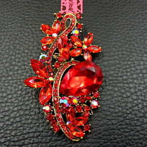 Hot Betsey Johnson Shiny Red Rhinestone Exquisite Flower Charm Brooch Pin Gift