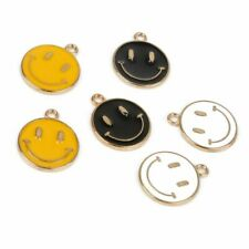 Gold Color Enamel Smiling Face Charms For Necklace Bracelet Earrings DIY Jewelry