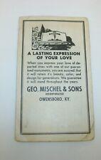 Geo Mischel & Sons Owensboro Kentucky Advertising Needls Book