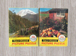 Vtg TUCO Deluxe Picture Jigsaw Puzzle Tripl-thick Box Canyon & Golden Harvest A1