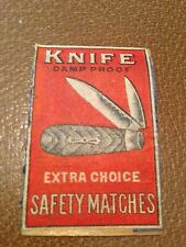 old match box top -  knife damp proof safety matches